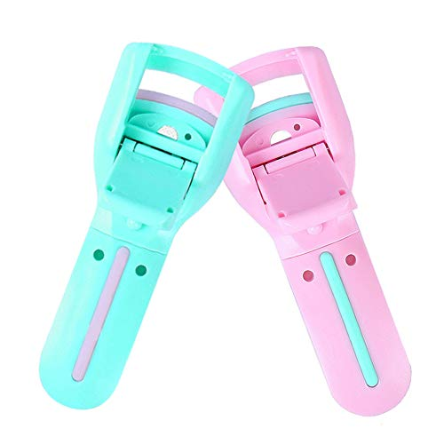 (2 Pcs Portable Plastic Eyelash Curler Mini Professional Eyelashes Curling Refill Rubber Pad Clip For Makeup Cosmetic Beauty Tool)