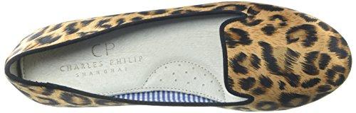 Zapatillas Para Mujer Sheila Smoking De Charles Philip Shanghai, Satin Leopard, 6.5 M Us