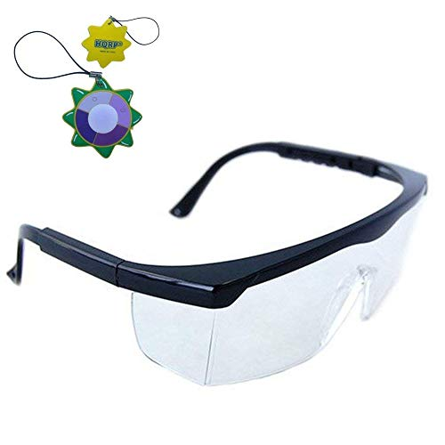 HQRP Clear Tint UV Protective Safety Glasses/Goggles for Lab Chemistry courses Science class in School High School College Laboratory + HQRP UV Meter ()