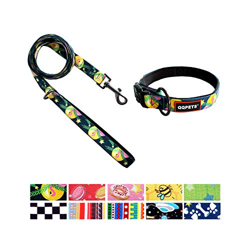 QQPETS Dog Collar and Leash Set Personalized Flamingo Pattern Puppy Girl Collars Soft Handle Leashes for Small Dogs Training Walking (S, Flamingo)