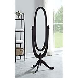 eHomeProducts Solid Wood Cheval Floor Oval Mirror with 3 Legs, Espresso Finish