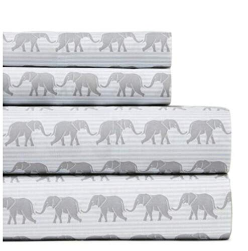 Tommy Hilfiger Full Sheet Set Elephants Grey Ithaca Stripe Blue White 4 Piece Bedding ()