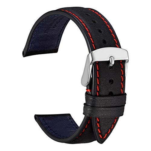- WOCCI 20mm Nubuck Leather Watch Band,Unisex Casual Wristwatch Strap (Black/Red Stitching)