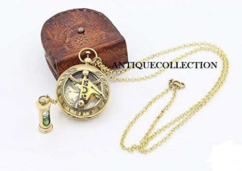 ANTIQUECOLLECTION Necklace Sundial Compass with Mini Hour Glass W/case