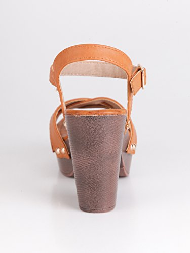 Fasce Xti Cuoio Largo Con Scarpe Color Sandali Tacco Legno Zoccoli In w8TqFBZ