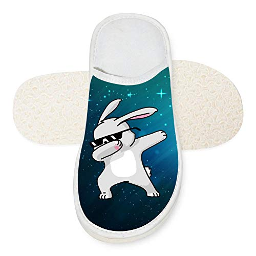 Adult Dab Easter Rabbit House Slippers Comfort Winter Warm House Slipper Indoor Slip Shoes for men 6 B(M) US