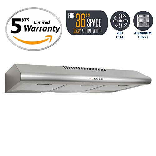 Cosmo COS-5MU36 200 CFM Ducted Under Cabinet Stainless Steel Range Hood With Push Button Control Panel, Kitchen Vent Hood Exhaust Fan With Aluminum Filters And LED Lighting