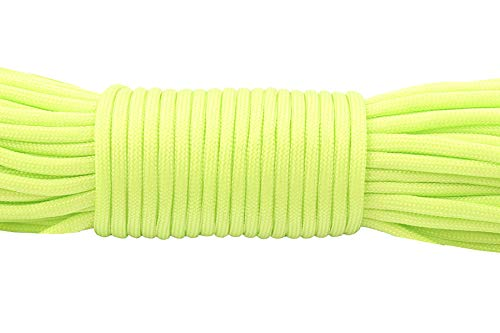 HEI LEYOU Camping Climbing Rope Outdoor Survival Type Iii Cord 17 fluor Green 25feet ()
