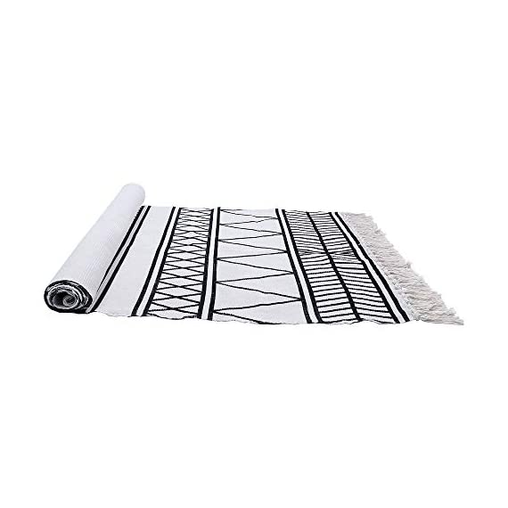HEBE Cotton Rug Runner 2.3'x6' Washable Woven Tassel Black and White Rugs Cotton Throw Rugs Floor Carpet Mat Bohemian Rug for Living Room Kitchen Laundry - Area Rug Runner Size: Package includes 1 PCS cotton woven tassels runner rug. Cotton runner rug measure size at 2.3 x 6 ft/70*180cm.The size is perfectly suitable for kitchen floor,laundry room,living room,entrance way,doormat or any room you like. Accent Cotton Rug: Woven cotton throw rugs runner well made by Natural Cotton.Cotton material makes excellent water absorption.It's safe for the environment, give soft and breathable touch when people walk on them. Printed Bohemian Cotton Rug Runner: Cotton throw rug designed with geometric patterns and extra snazzy knotted tassels on each side which make them seem chic.Cotton area rug color is black and white that will make it never go out of style and long time stay on the floor. - runner-rugs, entryway-furniture-decor, entryway-laundry-room - 41tAtlGP7SL. SS570  -