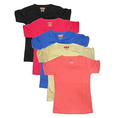 New Day Girls Cotton Plain T-Shirt (Pack of five)