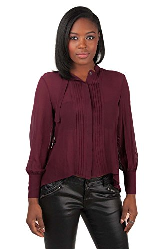 (Poetic Justice Women's Curvy Fit Cabernet Pintuck and Drawstring 100% Silk Blouse Size)