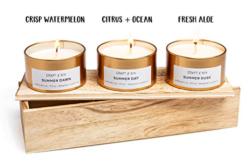 Soy Candle Scented Candle Set - Gold Travel Tin Scented Candles Set Summer Scent Variety Pack Candle Set Stress Relief Natural Soy Candles Candle Sets Stress Relief -