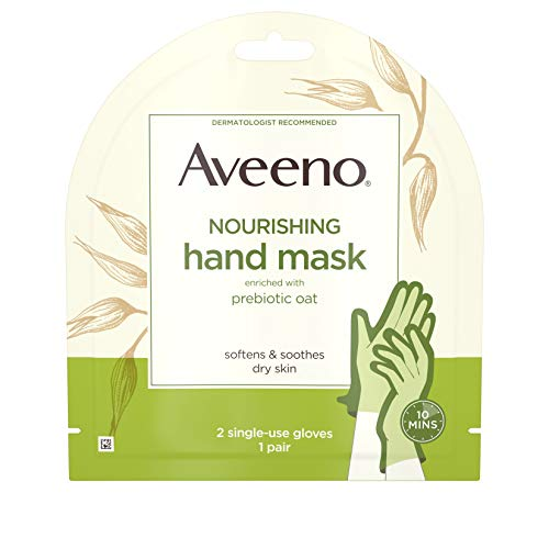 Aveeno Nourishing Hand Therapy Mask Moisturizing formula with Prebiotic Oat for Dry Skin, Fragrance-Free and Paraben-Free, 1 Pair of Single-use Gloves