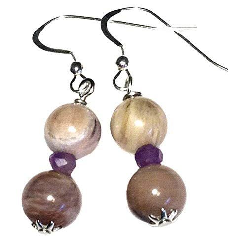 Petrified wood and amethyst earrings, all sterling silver, gift from Seattle, gift from Washington, official state gemstone (Component Wood)