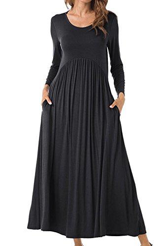 Babyonlinedress Women's O neck Beach Casual Maxi Long Dress(Black,S)