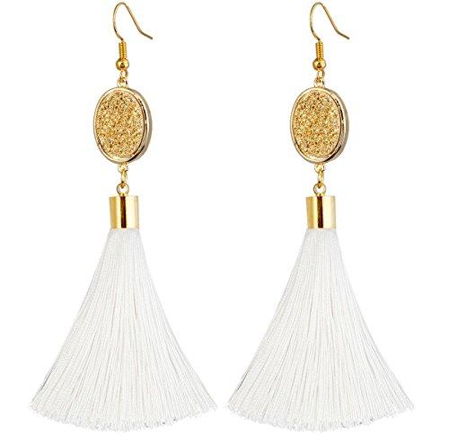 SUNYIK Bohemia Crystal Druzy Dangle Earrings for Women,with Thread Tassel,Oval (Long Gemstone Earrings)