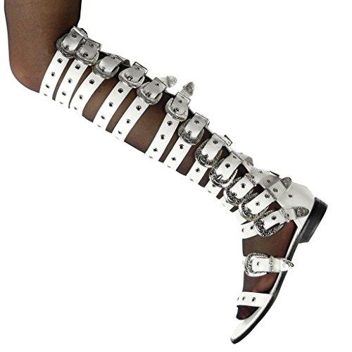 Perforato Flessibile 2 Multi Fibbia Blocco Bianco briglia Moda Cm Biker Scarpe Tacco Stivali Donna Scarponi A Gladiatore Angkorly fzYqZ