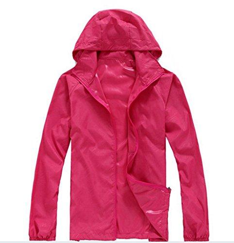 Geval Unisex Windproof Waterproof Outdoor Quick Drying Skin Coat(Rose Red,XS)
