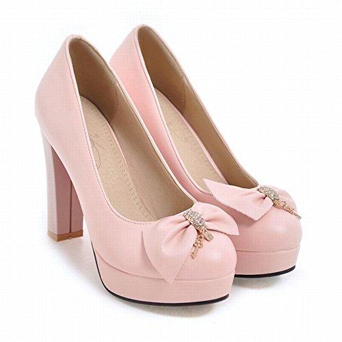 Charm Foot Womens Elegant Bows Rhinestone Chunky High Heel Pump Shoes Pink xvv9Qd