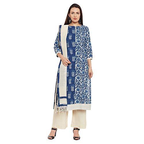 PinkShink Pure Cotton Indigo Kurta Palazzo Dupatta Set prt204 - Salwar Cotton Suit