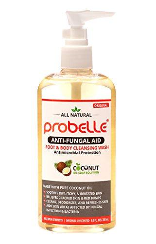 Antifungal Soap from Pure Coconut Oil with Antimicrobial Protection. Aids Skin Areas Affected by Fungal Infection & Bacteria. Maximum Strength, Original Unscented. 9.5 oz/ 280 (Nail Antimicrobial)