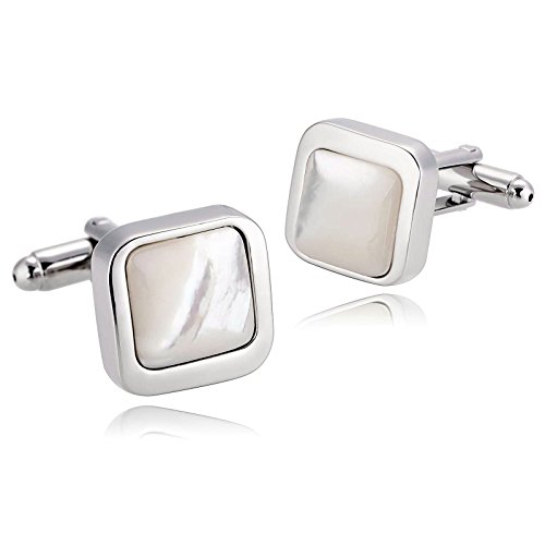 Adisaer Stainless Steel Cuff Links Mens Silver White Square Mens Dress Shirt Cufflinks Business Gift