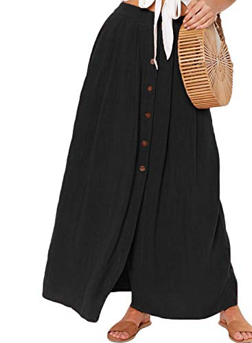 HOTAPEI Womens Casual Front Button Split High Waist A Line Pleated Maxi Skirts for Women Long Length with Pockets Black S
