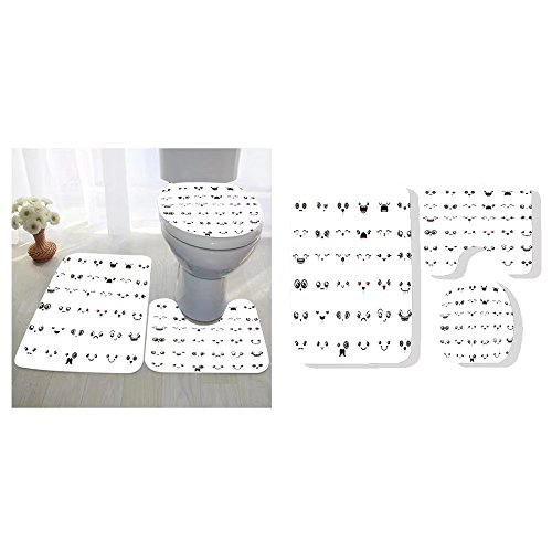 Sherry R. Bennett three-piece toilet seat pad custom set of cute lovely kawaii emoticon doodle cartoon face in childlike manga cartoon - Face Oval Or Oblong