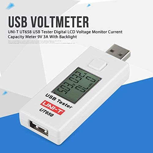 UNI-T UT658 USB Digital LCD Power Meter Tester Multimeter Voltage and Current Monitor 9V 3A Current Meter Capacity Tester with Backlight