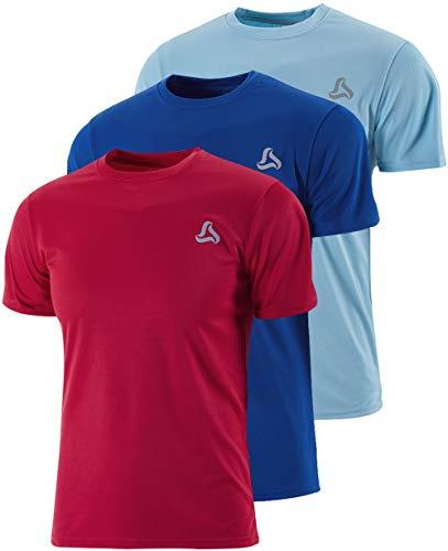 SILKWORLD Men's 3 Pack Mesh Quick-Dry Short Sleeve Workout Shirt