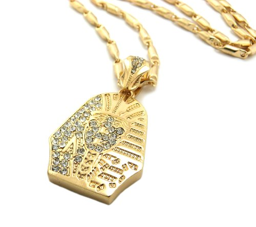 """New Iced Out PHARAOH KING TUT Pendant 4mm&24"""" Bullet Chain Hip Hop Necklace MZ86G"""