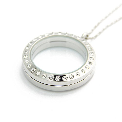 JoJo&Lin 30mm Glass Round Magnetic Floating Locket 30mm MEDIUM SILVER with ROLO Chain