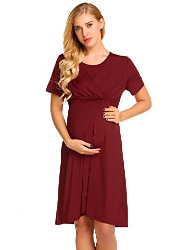 ZHENWEI Women's Maternity Clothing Knee Length Short Sleeve Jersey Skater Summer Dress, Wine Red, S