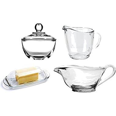 Glass Set of Gravy Boat, Butter Dish with Lid, Creamer Pitcher & Sugar Bowl with Lid - Bundle of 4