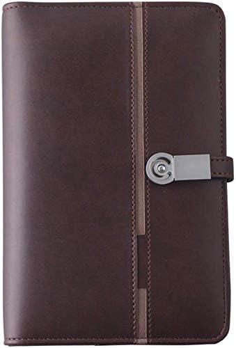 WZJN Wiederaufladbarer A5-Notizblock, PU-Leder-Ordner mit 8000 mAh-Powerbank, 32-GB-Flash-Memory-Disk für Reisen, Besprechung