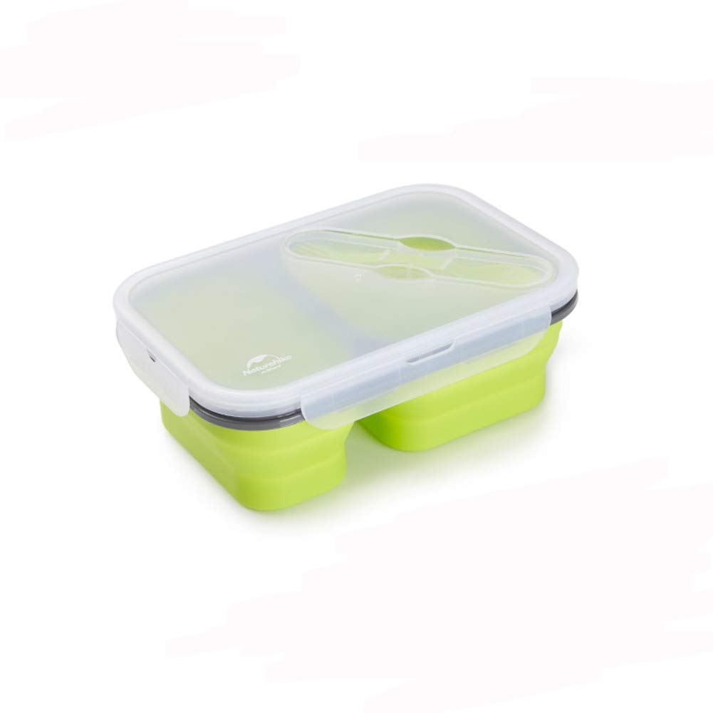 KnvcDey Silicone Collapsible Bowl,Camping Hiking Portable Travel Food Storage containers Lunch bento Box bpa Free Space-Saving-Green M by KnvcDey