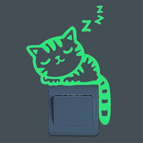 Black Friday Deal Glow in The Dark Cute Cartoon Cat Wall Button Stickers 2pcs Green Fluorescent Luminous Wall Sticker Removable for Kids Rooms (Very Best Black Friday Deals)