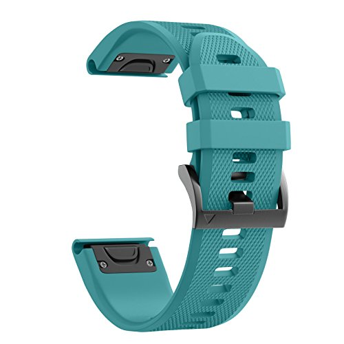(ANCOOL Compatible with Fenix 5 Band Easy Fit 22mm Width Soft Silicone Watch Strap Replacement for Fenix 5/Fenix 5 Plus/Forerunner 935/Approach S60/Quatix 5 - Rock Blue)