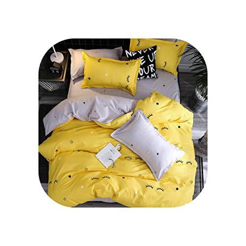 QianQianStore Mixed Color Cartoon Style Fox/Snowflakes/Animal Plants 4pcs Bedding Sets Bed Sheet Duvet Cover Pillowcase Bedclothes,3,King