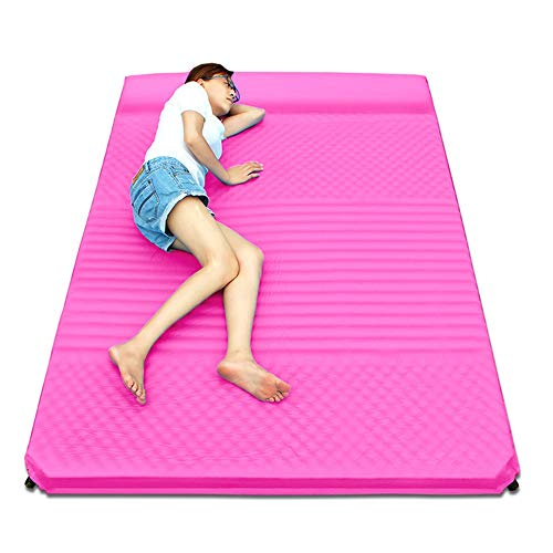 ZCQDC Inflatable pad 5cm Thick Wave Type Comfortable Double Air Cushion, Automatic Inflatable, Tent Outdoor Camping Mattress Indoor Lunch Break Beach Mat (Color : Pink)