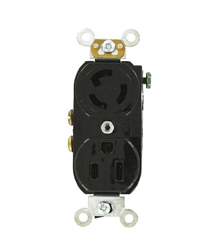Leviton 4795-2R Duplex Locking/Straight Blade Combination Receptacle, Split Feed: 2 Hot Feeds and 2 Neutral Returns, Black