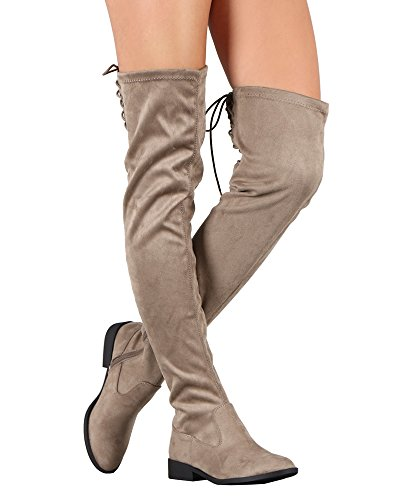 RF RAUM DER MODE Suede Back Lace-Up Overknee Reitstiefel Taupe Su