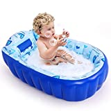 LDY Blue-Inflatable Baby Bathtub, Newborn Inflatable Foldable Shower Pool