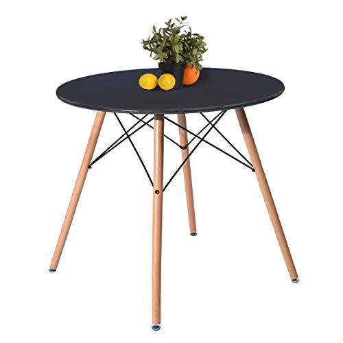 - Kitchen Dining Table Round Coffee Table Black Collection Modern Leisure Wood Tea Table Office Conference Pedestal Desk