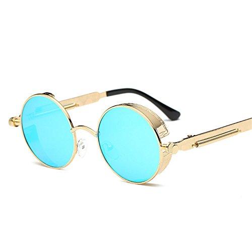 de Pierna Señora Gafas la la Pierna Sol Redondo Retro de Metal Marco de Actual sol de Color E K Espejo Gafas reflexivo RFVBNM de xqTAwF66