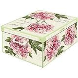 Kanguru Collection Midi Peony Decorative Storage Box with Handles and Lid, 42 x 32 x 10 cm, Multi-Colour
