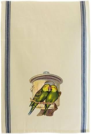 Two Green Parrots Pets Animlas Retro Stripe Dish Kitchen Towel Blue
