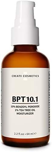 BPT10 - Acne Treatment 10% Benzoyl Peroxide Cream & Tea Tree Oil Moisturizer for Face & Body - Blemish & Spot Treatment, Cystic Acne Medication for Adult & Teen - 2.2. fl.oz