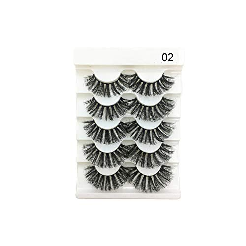 5 Pairs 2 Styles 3D Faux Mink Hair Soft False Eyelashes Fluffy Wispy Thick Lashes Handmade Soft Eye Makeup Extension Tools,13mm,Brushed Slate (Terrier Welcome Slate)