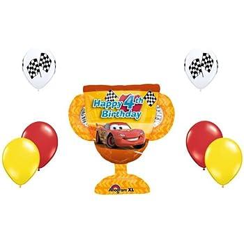 Disney Cars Lightning McQueen Happy 4th Birthday Balloon Set Party Trophy Boy